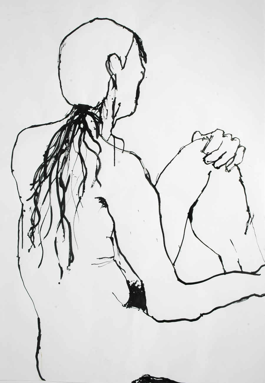male model life drawing ink egon schiele